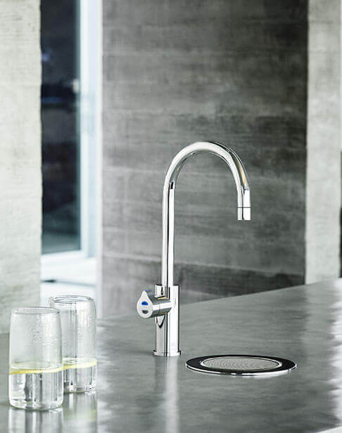 Chrome HydroTap installed on a font in a modern kitchen