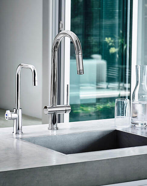 Chrome Separate Mixer Tap with a Cube HydroTap